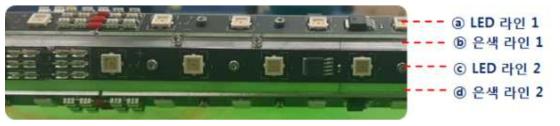 6각 교차배열 LED 램프 측정 지점