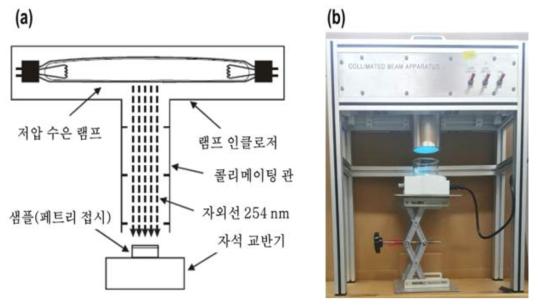 (a) 콜리메이트 빔 모식도, (b) 실제 실험에 사용된 콜리메이트 빔의 사진