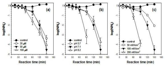 다양한 실험 조건 하에서 단일중항 산소에 의한 E. coli 불활성화 [E. coli] = 107 CFU/mL; [Dye]0 = 50 μM for (b) and (c); Light intensity = 100 mW/cm2 for (a) and (b); [Phosphate buffer] = 10 mM; pHi = 7.1 for (a) and (c)