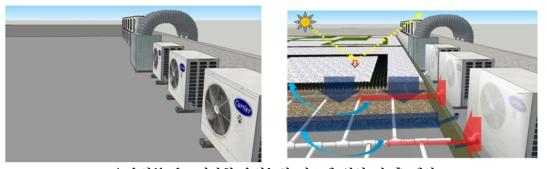 옥상부 온도저감형 옥상녹화 시스템 설치 전 후 예상도