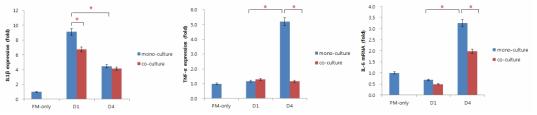 PM 처리 및 PL-MSC 공배양에 따른 HMEEC에서의 IL-1β, TNF-α, IL-6 발현 변화