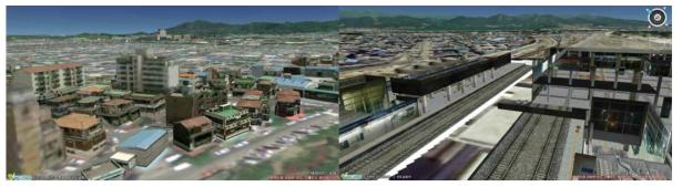 V-World 화면 예시(좌: 3차원 반응화면, 우: 실내분석)