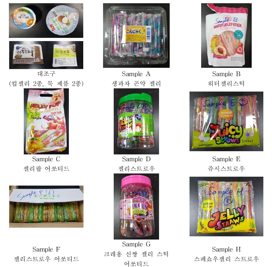국내 유통중인 스트로우(스틱형) 젤리류 8종 및 대조구 시료