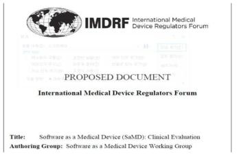 IMDRF 발간 SaMD의 임상 평가에 대한 문서