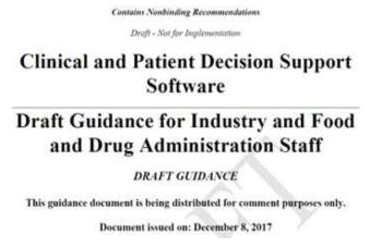 FDA발간 CDS 정의와 규제 관련 가이던스