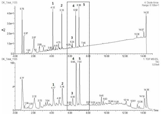 두메닥나무 추출물의 UPLC-Q-TOF 크로마토그램