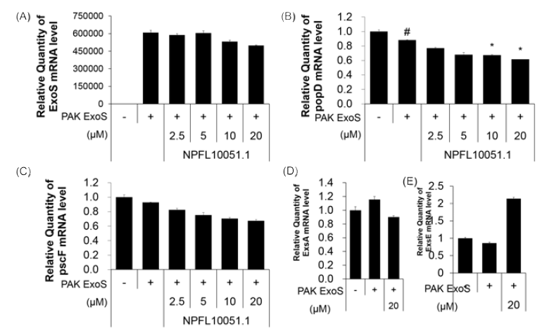 The effect of NPFL10051.1 on type Ⅲsecretion system regulators and effector protein by quantitative PCR P. aeruginosa strains PAKΔST, PAKexoS were grown for 16h in LB broth on a rotary shaker at 37℃. The cultures were diluted 1: 20 in fresh LB broth supplemented with 1mM EGTA. The NPFL10051.1 was added to the broth at concentrations of 2.5-5-10-20 before incubation on a rotary shaker for 6h at 37℃
