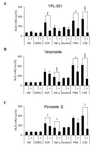 다양한 자극원에 의해 유도된 MUC5AC promoter에서 YPL-001와 이로부터 분리한 단일화합물 Verproside와 Picroside II에 의한 억제 효과