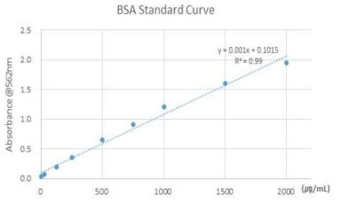 BSA 단백질농도 표준곡선