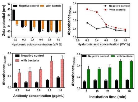 히알루론산 농도 대비 표면전하 결과 및 signal to noise ratio 결과(상단), 자유로운 항체 농도 최적화 및 항체 반응 시간 최적화 결과(하단)