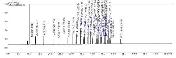 37종 지방산 standard의 gas chromatogram