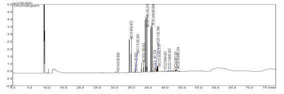 15분 로스팅 귀리 분말의 gas chromatogram