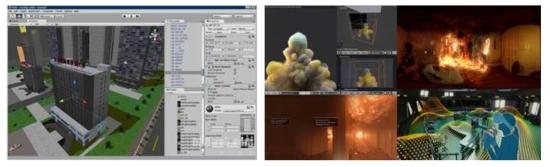 화재 시뮬레이션 구축 사례 화면