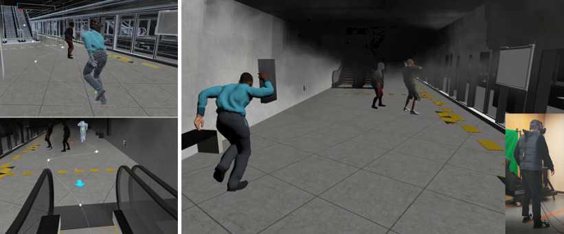 화재 시뮬레이션을 진행 시 인물 연출 화면