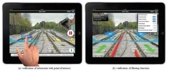 AR을 이용한 철도시설물 정보 표시 사례