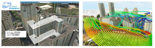 Virtual Singapore 개발 및 활용사례(건물 설계 검토, 도시 풍동 실험)
