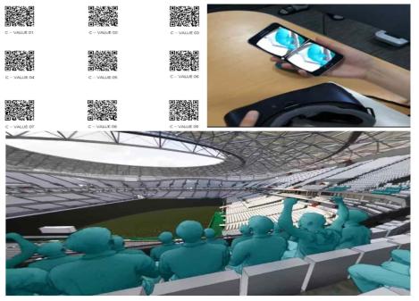 희림건축의 VR활용사례(경기장 좌석배치에 따른 피치 시아확보 검토)