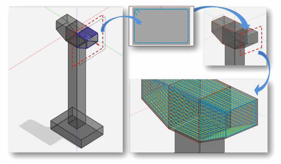 보강재 모델링 및 보강재 연동