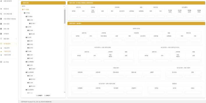 시스템 관리(가중치 관리) 메뉴 화면