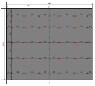 정해석 데이터의 변형률 취득 위치(슬래브 하부)