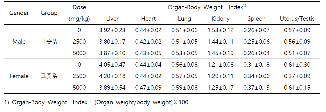 Organ-Body Weight Index of Mice Treated with 고춧잎
