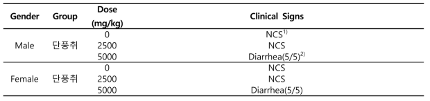 Clinical Signs in Mice Orally Treated with 단풍취