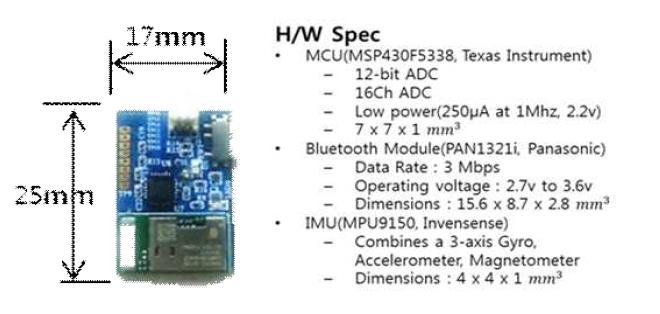 소형화된 Hybrid-IMU 모듈 및 하드웨어 스펙