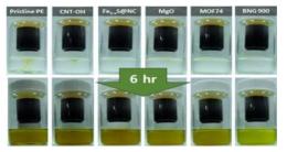 각각의 분리막을 적용한 폴리설파이드 확산 실험과 시간에 따른 확산용매 색깔의 변화