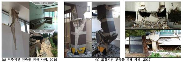 최근 발생한 지진의 건축물 피해 사례