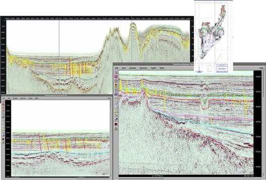 Fault activity near Hupo basin. This figure shows the seismic survey line extending from the continental slope (offshore Hupo) to Dokdo island. The central part of Ulleung basin is characterized by volcano chain and normal faults due to volcanic activities