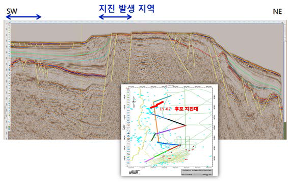 The geological structure map of an area in Hupo earthquake zone where an earthquake with a magnitude of 4.0 or stronger occurred