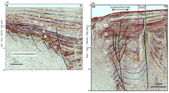 Earthquake zones in the southwest synlift and wrench fault in the Ulleung Basin