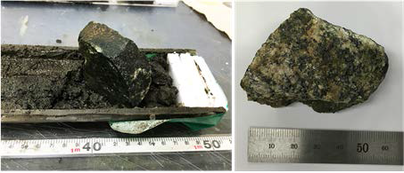 The rock fragment in the lowest part of the piston core