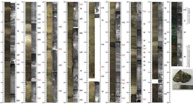 The cross section and X-ray of the core shows several tephra stratigraphy and is characterized by alternating bioturbated mud and laminated mud