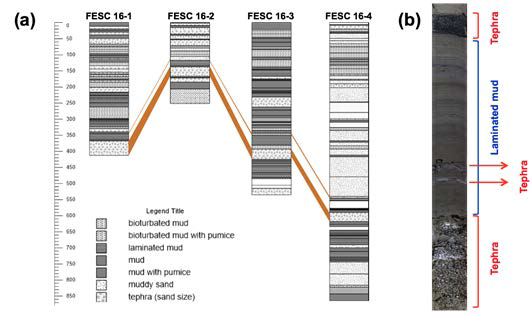 (a) Comparing the stratigraphic sequence of each core by correlating distinct tephra stratigraphy. (b) Distinct rock floor of the tephra stratigraphy used in the correlation