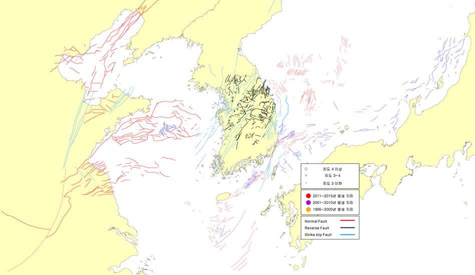 The spatial distribution of submarine faults around the Korean Peninsula