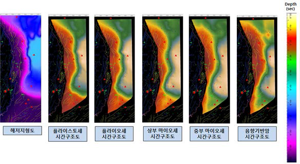 2D time structure of the earthquake zone in the East Sea