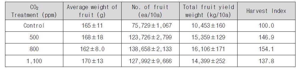 이산화탄소 시비 농도에 따른 토마토 수확량과 무게