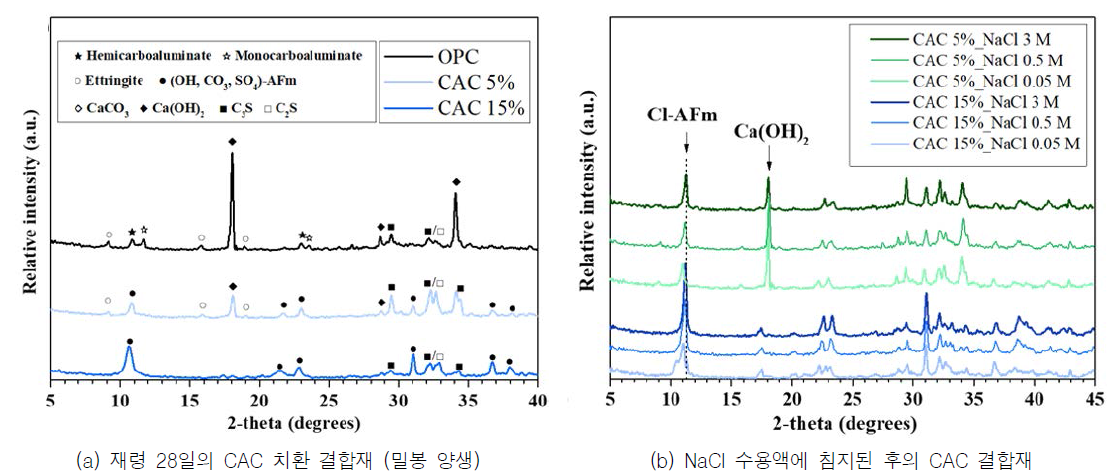 NaCl 수용액 속 침지 전후의 CAC 치환 결합재의 X-ray diffraction 패턴