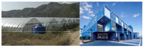 (좌) 비닐하우스 시설, (우) 커먼그라운드